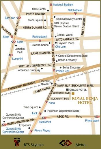 Sukhumvit Bangkok Hotel Location Map Royal Benja Hotel - Us embassy bangkok map