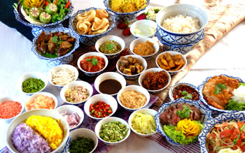 Authentic Thai Food on Songkran Day""
